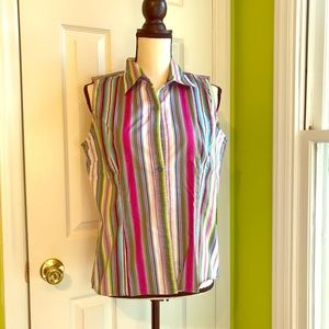 """SALE"" Multicolor Striped Sleeveless Blouse size L"